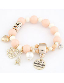 Baggy Light Pink Multielement Pendant Decorated Design Alloy Korean Fashion Bracelet