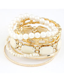 Montgomery White Gemstone Decorated Multilayer Design Alloy Fashion Bangles
