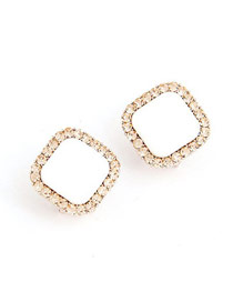 Concealed White Square Shape With Dimond Design Alloy Stud Earrings