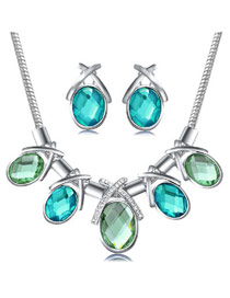Huge Silver Color Luxury Gemstone Decorated Design Alloy Jewelry Sets