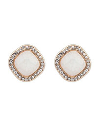 Preppy Beige Square Shape Simple Design Alloy Stud Earrings