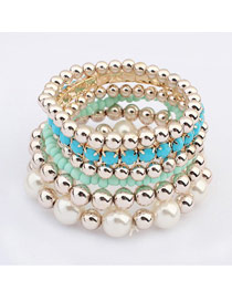 Tapered Blue Multilayer Weave Beads Design Ccb Fashion Bangles