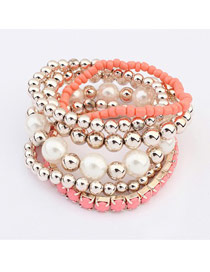 Imitation Peach Multilayer Weave Beads Design Ccb Fashion Bangles