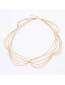 Dash Gold Color Multilayer Chain Simple Design Alloy Hair band hair hoop