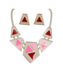 Red Hollow Out Geometric Design Alloy Jewelry Sets