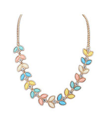 Minted Multicolor Elegant Diamond Decorated Design Alloy Bib Necklaces