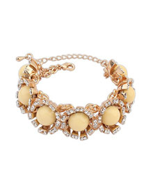 Pierced Yellow Round Gemstone Decorated Design Alloy Fashion Bracelets