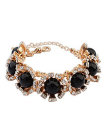 Collar Black Round Gemstone Decorated Design Alloy Fashion Bracelets