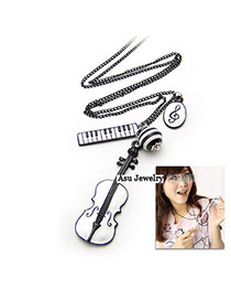 Magnifying White Guitar Alloy Korean Necklaces
