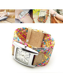 Fashion Black+white Girl Dial Plate Decorated Hand-woven Belt Tassel Watch