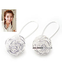 Digital Silver Color Chic Sphere Earrings Alloy Korean Earrings