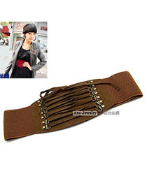 Magnetic Brown Tassel Buckle Elastic Alloy Wide belts