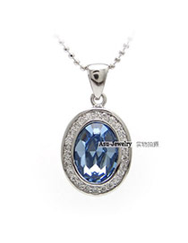 Butterfly sea Blue Oval Design Crystal Crystal Necklaces