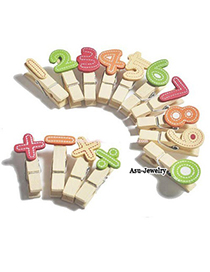 Reflective Multicolour Digital With Arithmetic Symbols Design Wood Wooden Clip