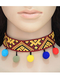 Fashion Multi-color Ball Decorated Color Matching Pom Choker