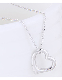 Fashion Silver Color Heart Shape Decorated Pure Color Necklace