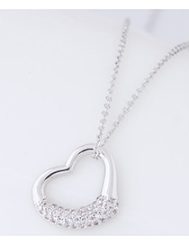 Fashion Silver Color Diamond Decorated Heart Shape Pure Color Necklace