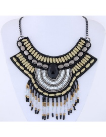 Vintage Gold Color+black Tassel Decorated Necklace