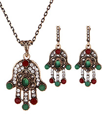 Vintage Green Palm Shape Decorated Jewelry Sets
