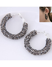 Fashion Dark Gray Pure Color Decorated Earrings