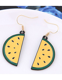 Fahsion Yellow+green Watermelon Shape Decorated Color Matching Earrings