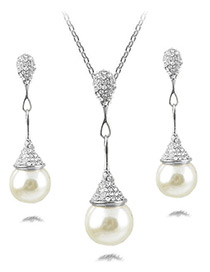 Fashion Silver Color Pearls&diamond Decorated Jewelry Sets