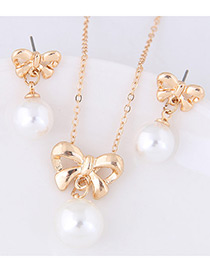 Elegant Gold Color Bowknot&pearls Decorated Jewelry Sets