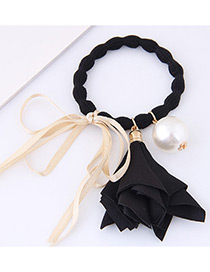 Lovely Black Morning Glory&bowknot Decorated Hair Band