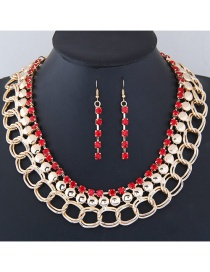 Fashion Red+gold Color Diamond Decorated Simple Jewelry Set