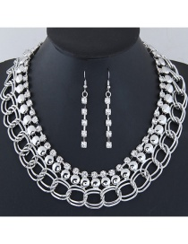 Fashion Silver Color Diamond Decorated Simple Jewelry Set