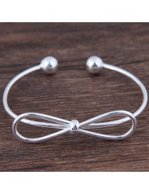 Fashion Silver Color Bowknot Shape Decorated Opening Bracelet