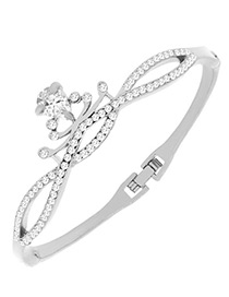 Fashion Silver Color Crown Shape Decorated Simple Bracelet