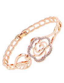 Fashion Rose Gold Flower Shape Decorated Simple Bracelet