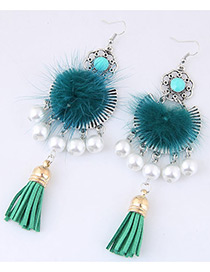 Fashion Blue Pom Ball&pearl Decorated Simple Earrings