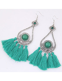 Fashion Green Tassel Decorated Simple Earrings