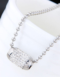 Trendy Silver Color Beads&diamond Decorated Pure Color Necklace