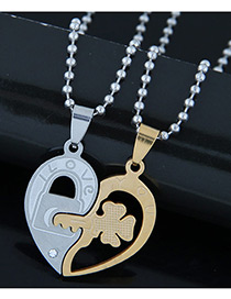 Trendy Gold Color+silver Color Key&lock Pendant Decorated Heart Shape Necklace