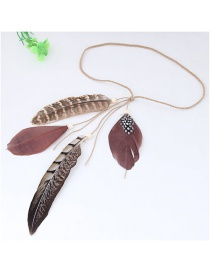 Trendy Gray+dark Red Feathers Decorated Color Matching Hair Band