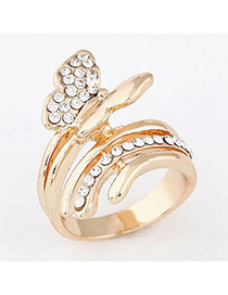 Sweet Gold Color Butterfly Shape Decorated Simple Ring