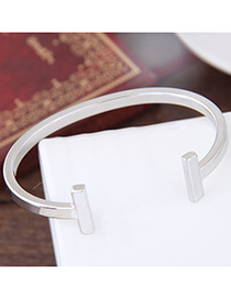 Elegant Silver Color Pure Color Decorated Opening Brecelet
