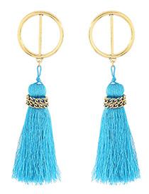 Bohemia Blue Chain Decorated Tassel Earrings