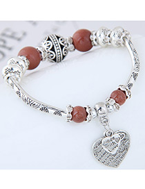 Fashion Brown Heart Shape Decorated Bracelet