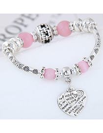 Fashion Pink Heart Shape Decorated Bracelet