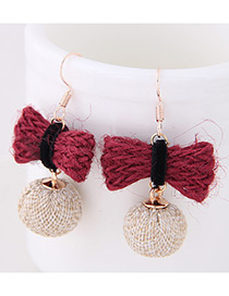 Elegant Red+beige Bowknot Shape Decorated Earrings