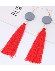 Elegant Red Tassel Decorated Earrings