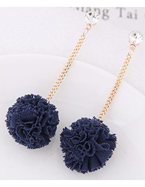 Sweet Dark Blue Flower Pendant Decorated Long Earrings