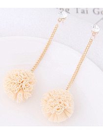 Sweet Beige Flower Pendant Decorated Long Earrings