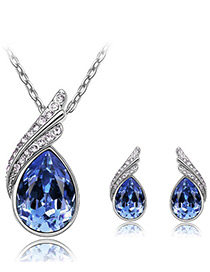 Elegant Blue Oval Shape Diamond Decorated Jewelry Sets