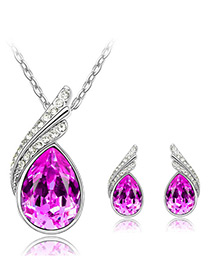 Elegant Plum-red Oval Shape Diamond Decorated Jewelry Sets