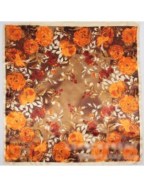 Fashion Gold Color Flower Pattern Decorated Square Shape Scarf